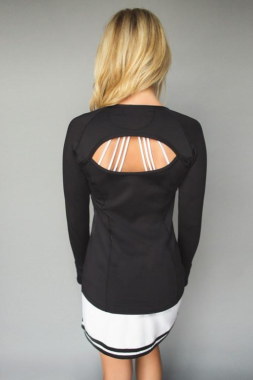 Cutout Long Sleeve Golf Shirt - Black - FlirTee Golf