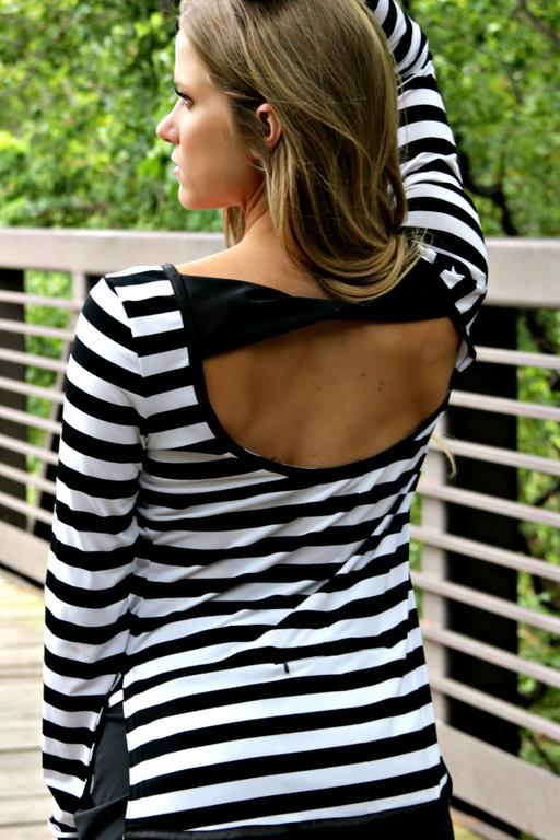 Scoop Back Golf Tunic - Black and White Stripes - FlirTee Golf