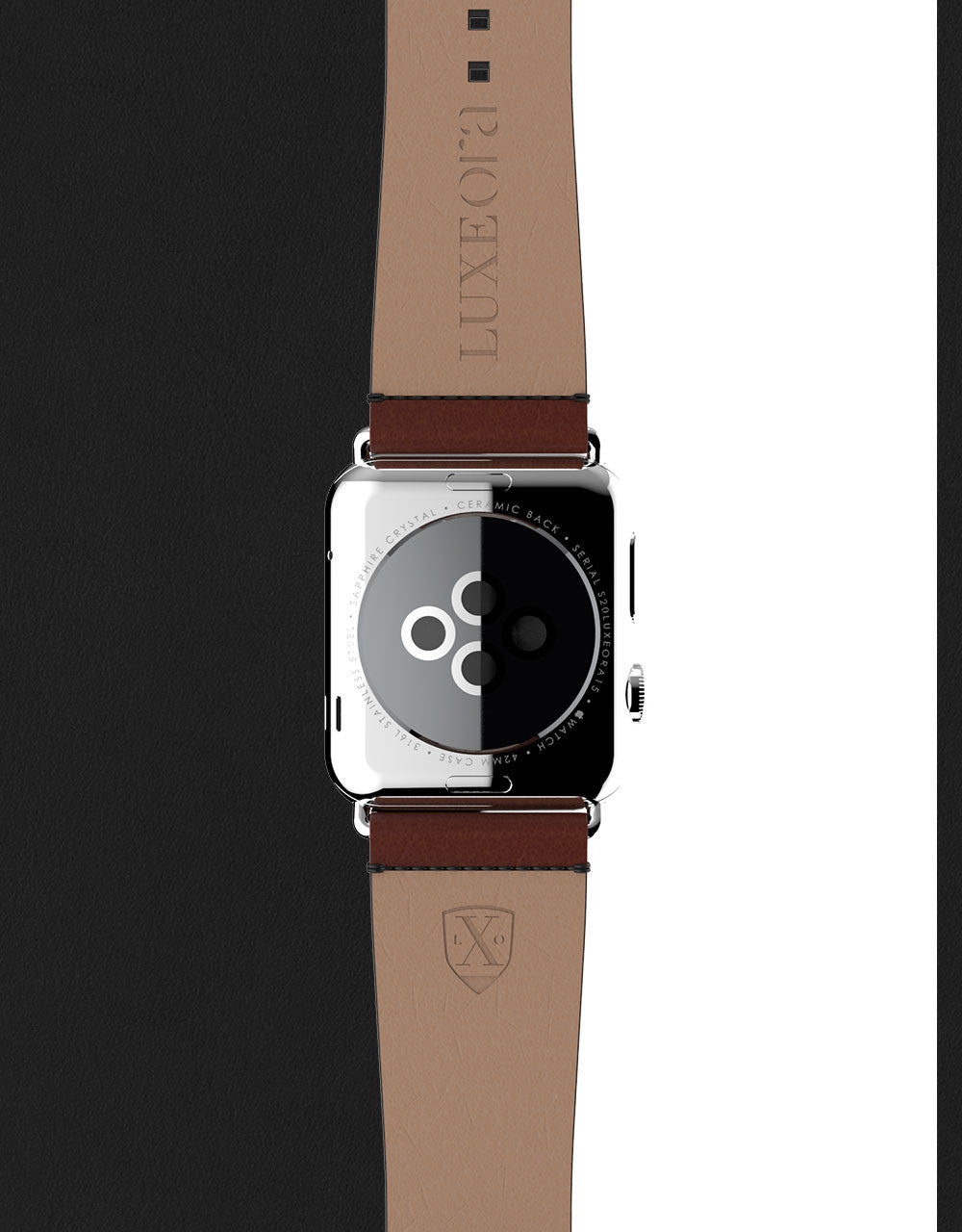 Apple Watch Luxury Leather Element Band 42 Mocha by Luxeora