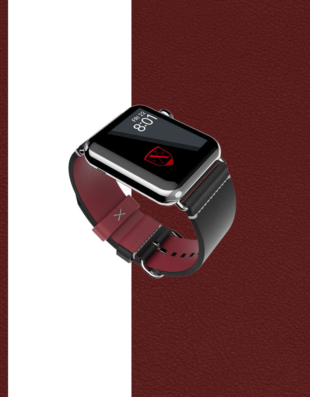 Apple Watch Luxury Leather Element Band 42 Onyx by Luxeora