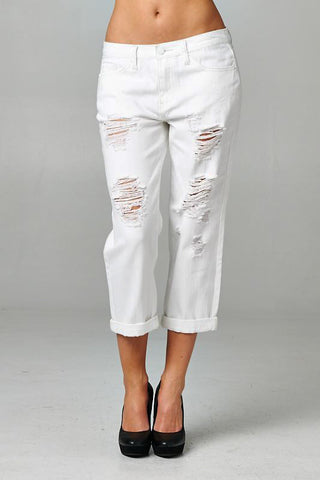Destroyed White Boyfriend Jeans