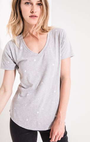 Grey Star Print V-Neck Tee