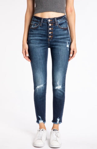 High Rise Five Button Skinny Jeans