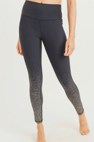 Black Ombré Silver Splatter Leggings