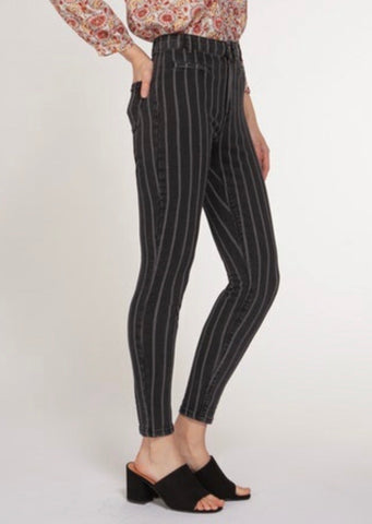 Pinstripe High Rise Skinny Jeans
