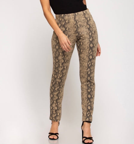 Tan Snakeskin Ponte Pants