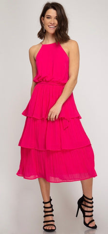 Pink Tiered Accordion Dress