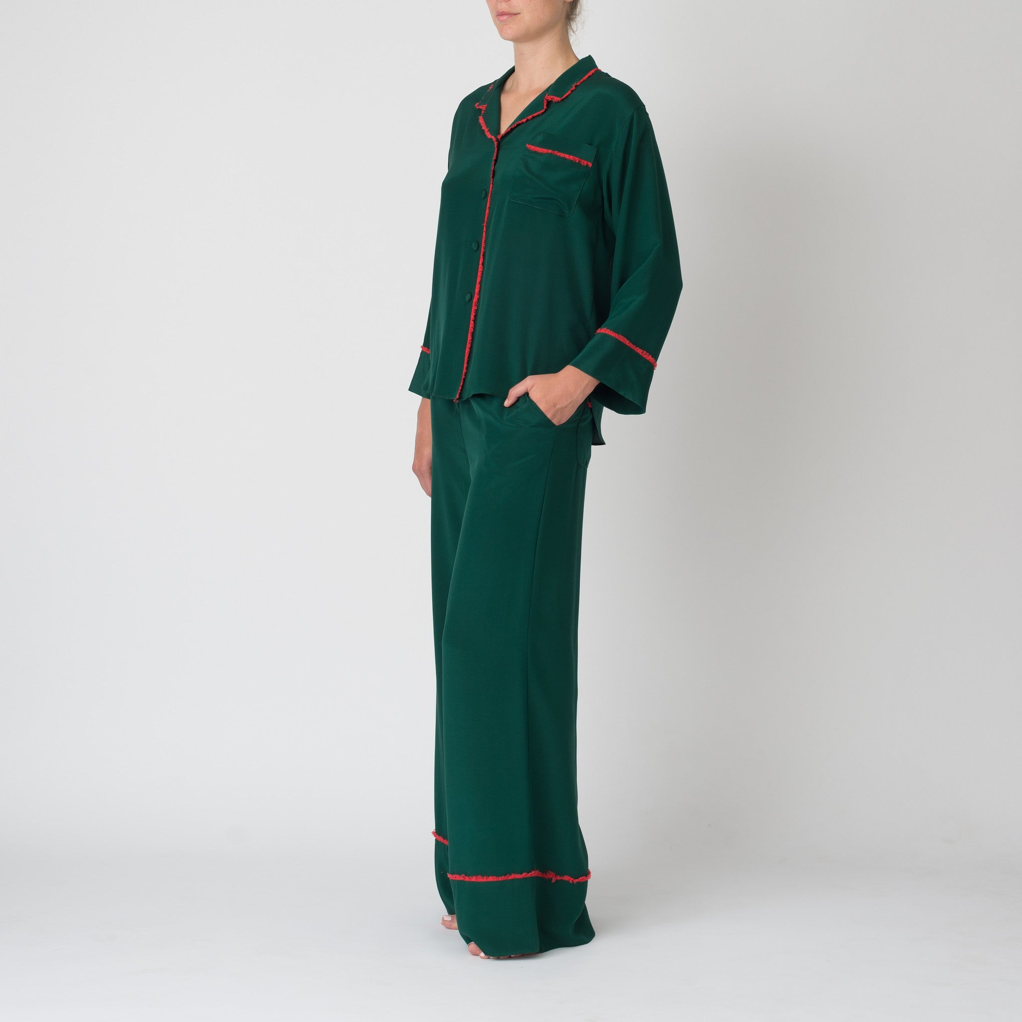 Matisse in Emerald with Coral Fringe