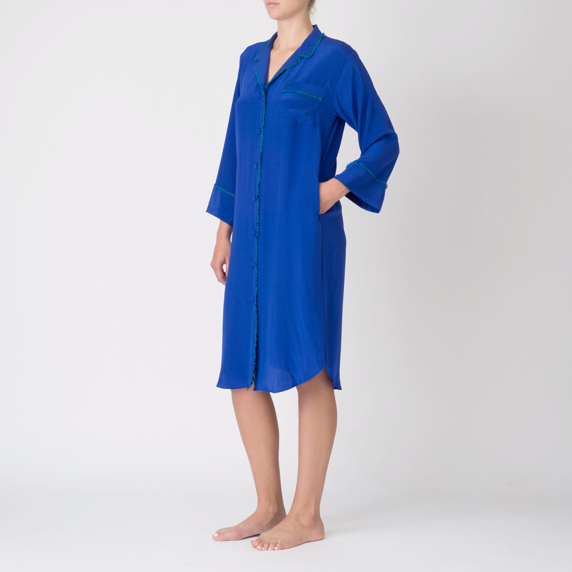 Georgia Nightshirt in Cobalt with Teal Fringe