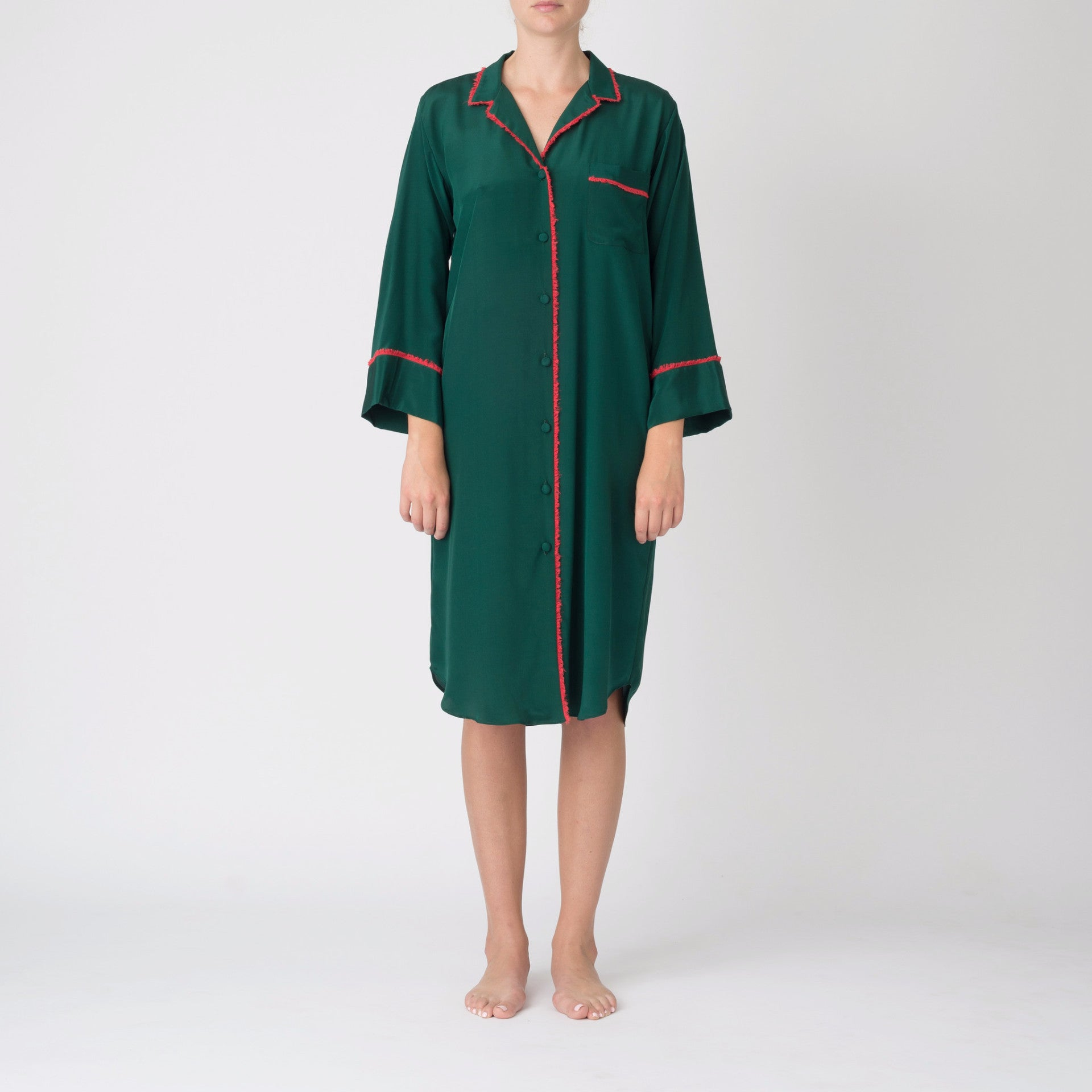 Georgia Nightshirt in Emerald with Coral Fringe