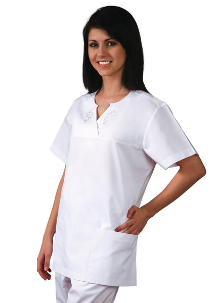 Adar Universal Empire Cut Semi V w/ Embroidered Yoke - BH Medwear - 1