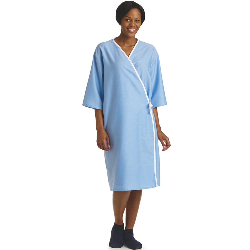 Front Opening Light Blue Unisex Examination Gown 2 Pack