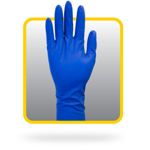 12″ Powder Free Blue Latex Gloves 13 mil. (Case of 500) - BH Medwear - 1