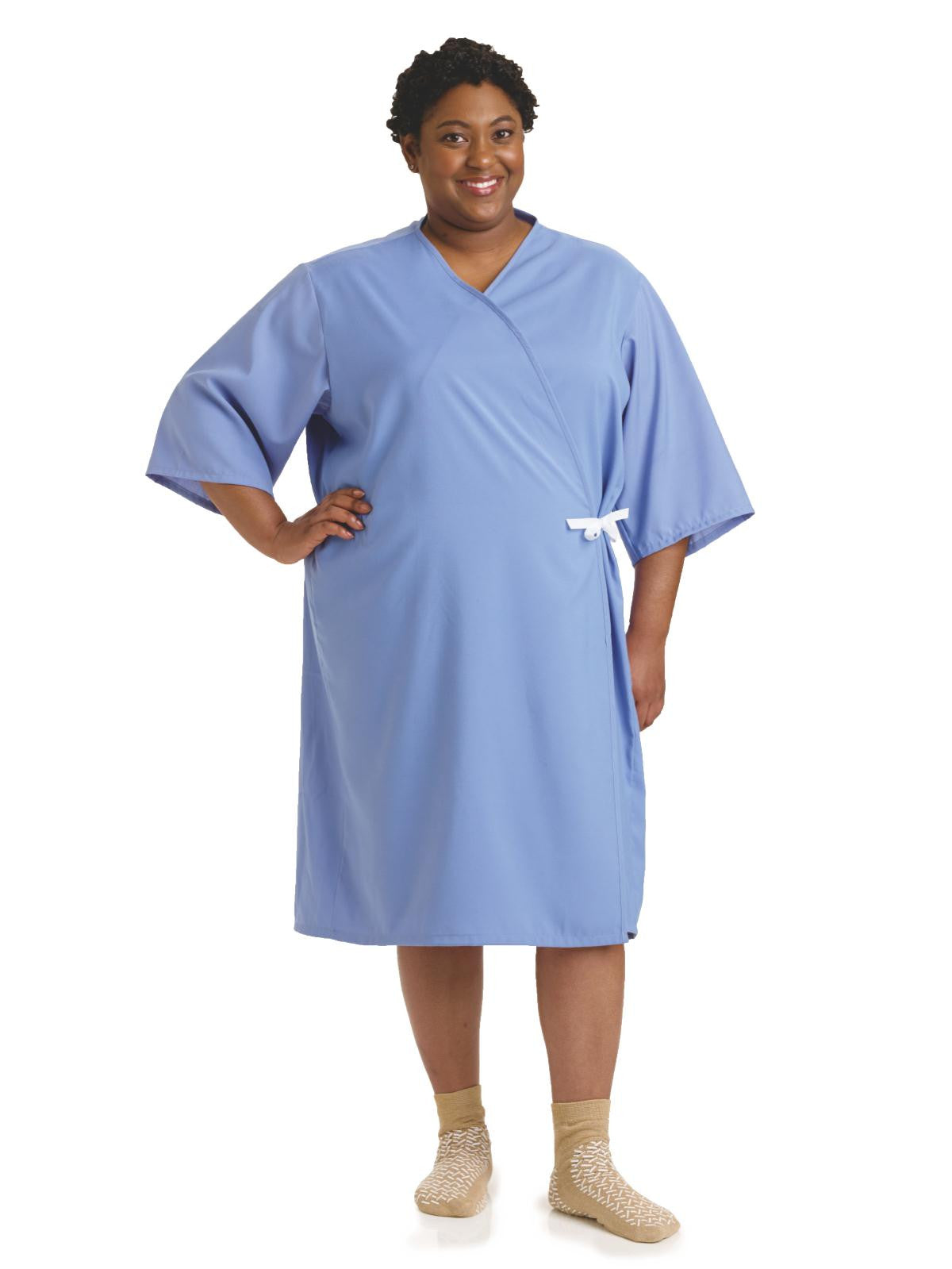 PerforMAX Front Open Patient Gowns Solid Blue (L/XL) - BH Medwear