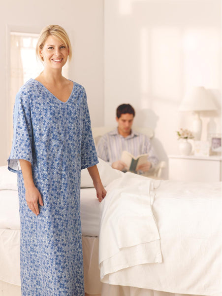 Feels Like Home IV Gown  Royale Print (1 Dozen) - BH Medwear - 1
