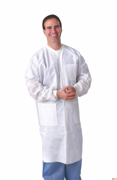SMS Lab Coats Blue or White with Knit Collar & Cuffs (Case of 30) - BH Medwear - 3