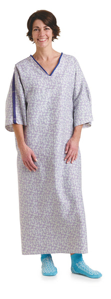 3X Deluxe Cut Oversized Gowns Tranquility Print with IV Sleeves - BH Medwear - 2