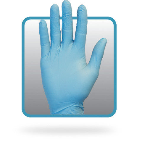 5.9  Mil, Blue Nitrile, Powdered, Non-medical Disposable Gloves (Case of 1,000) - BH Medwear - 1