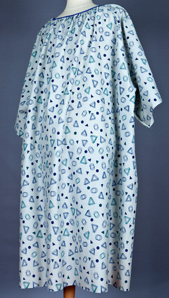 Royal/Teal GeoPrint 5XL Patient Gown - BH Medwear - 2
