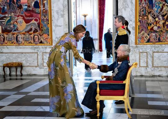 AMANJEDA IN ROYAL PALACES - Iti Press, Ambassador of Estonia, wearing Amanjeda iconic dress style