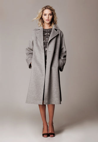"Alpaca Wool Coat ""Empire Long"""