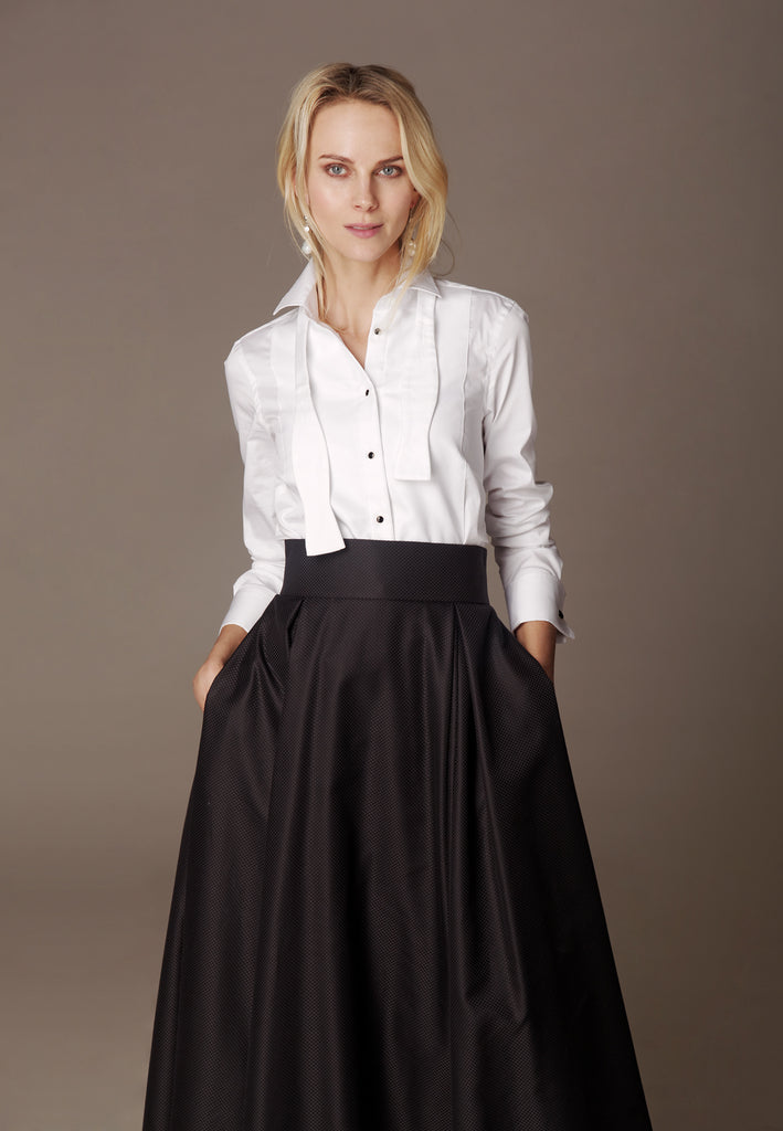 "Cotton shirt ""VERTIGO WHITE TIE"" & skirt ""DONNA"""