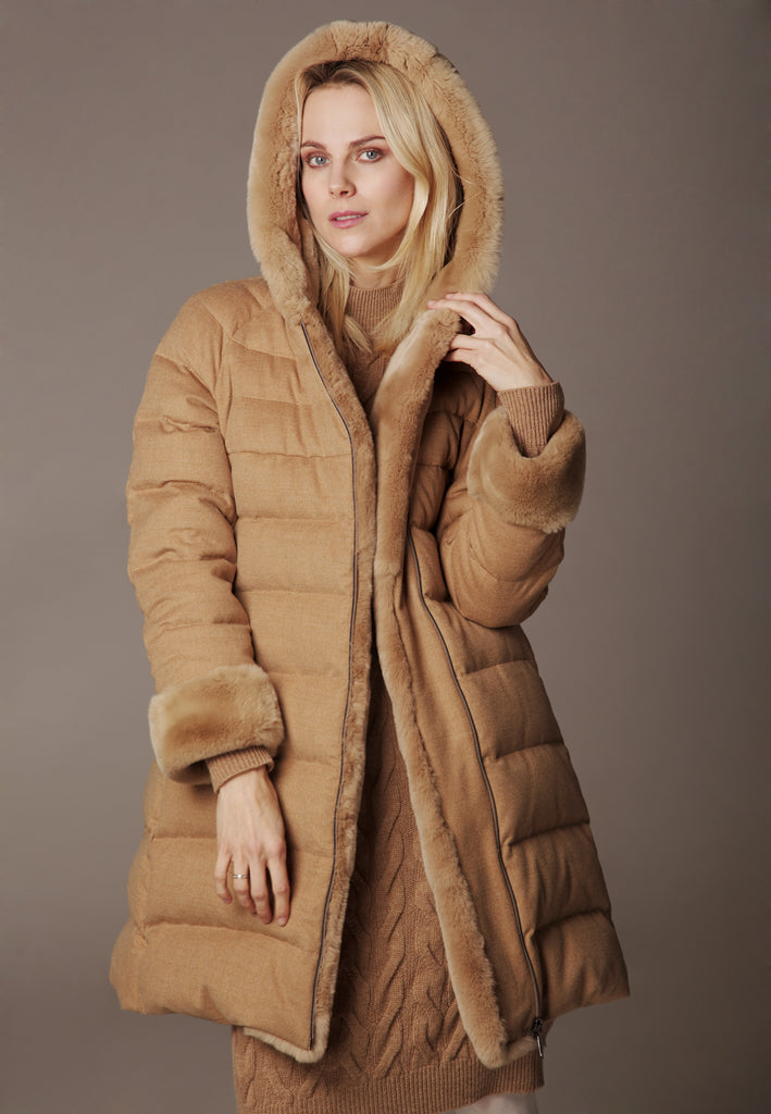 """ICY MIDI"", Weatherproof Down Winter Coat made of Storm System Wool by Loro Piana, with Rabbit fur"