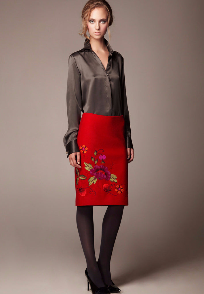 Luxury wool jersey skirt with hand embroidery ''Mona''