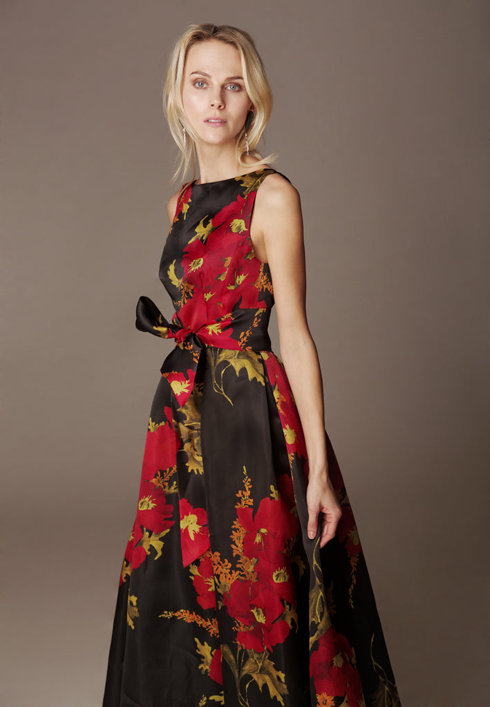 "Printed Silk Organza dress ""AUDREY MAXI"""