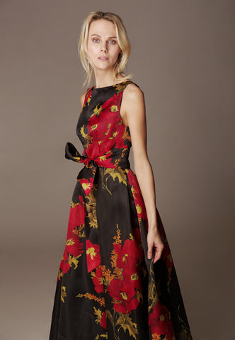 "Hand embroidered top ""MUHU"" & Silk Taffeta skirt ""DONNA NEW MAXI"""