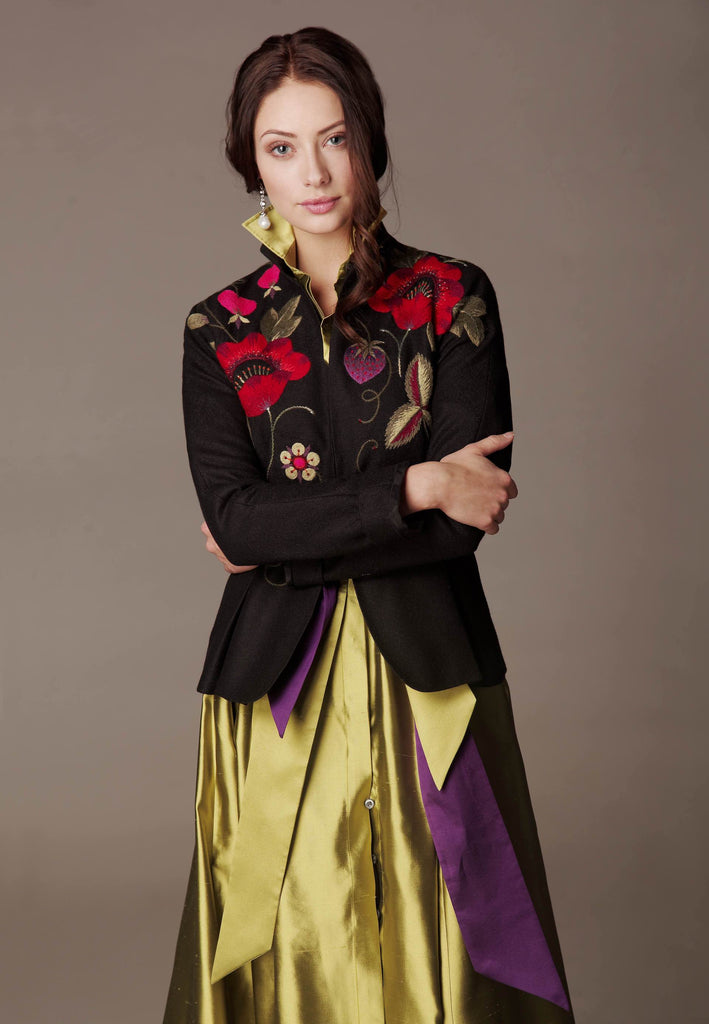 "Hand embroidered soft Wool jacket ""OSAKA"" & Silk Taffeta dress ""KATE MAXI"""