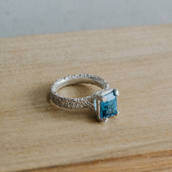 Lost Heirloom Ring ~ Silver, London Blue Topaz