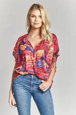 Ruby Red Tie Sleeve Blouse, Tops