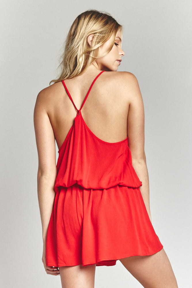 Red Strappy Romper, sale