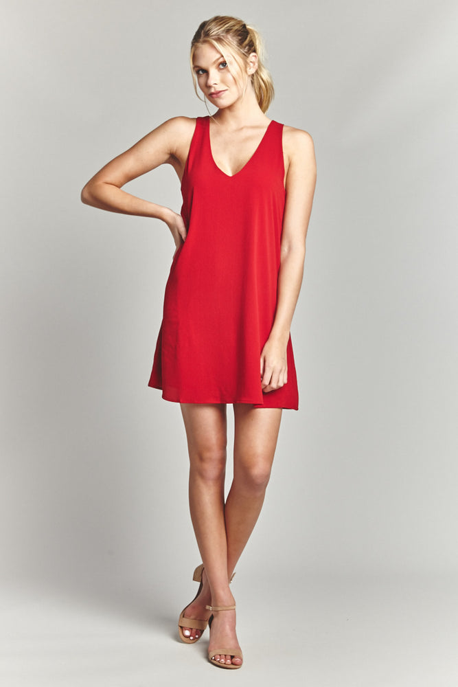 Cherry V Neck Sheath Dress
