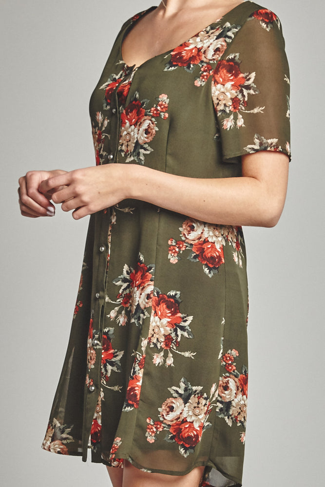 Olive Rose Button Up Dress