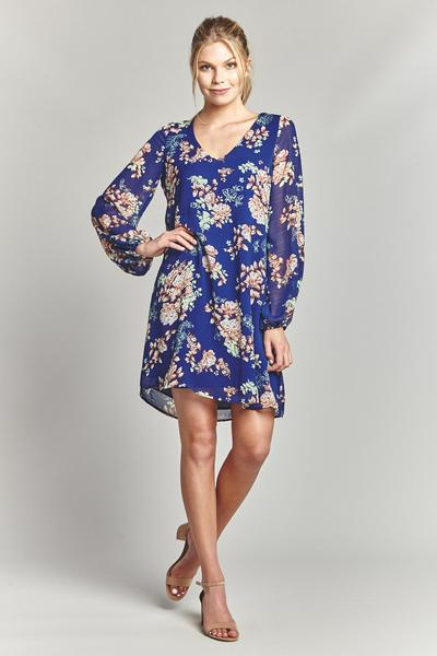 Lapis Long sleeve Short Flowy Dress with Bubble Sleeve prepack