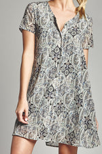 Sage Paisley Button Up Dress