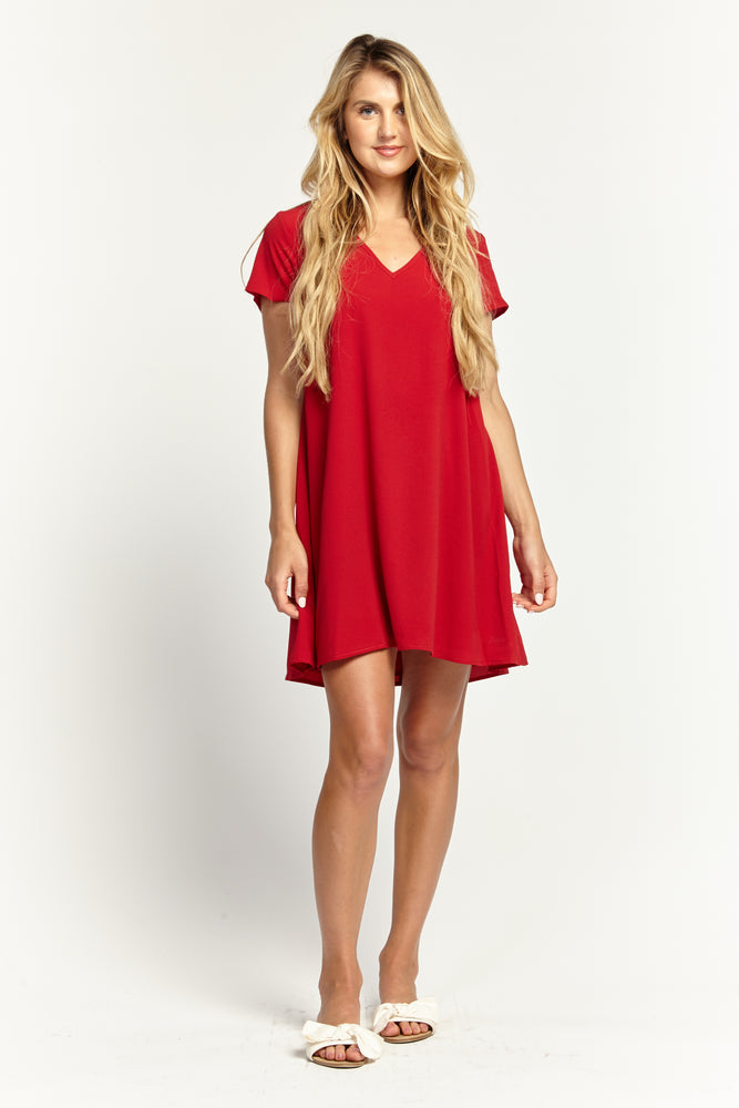 Red Baby Doll Dress, Dresses