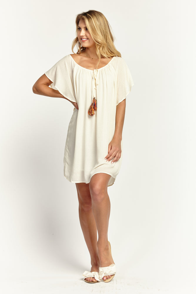 Ruffle Sleeve Shift Dress in Ivory, Dresses