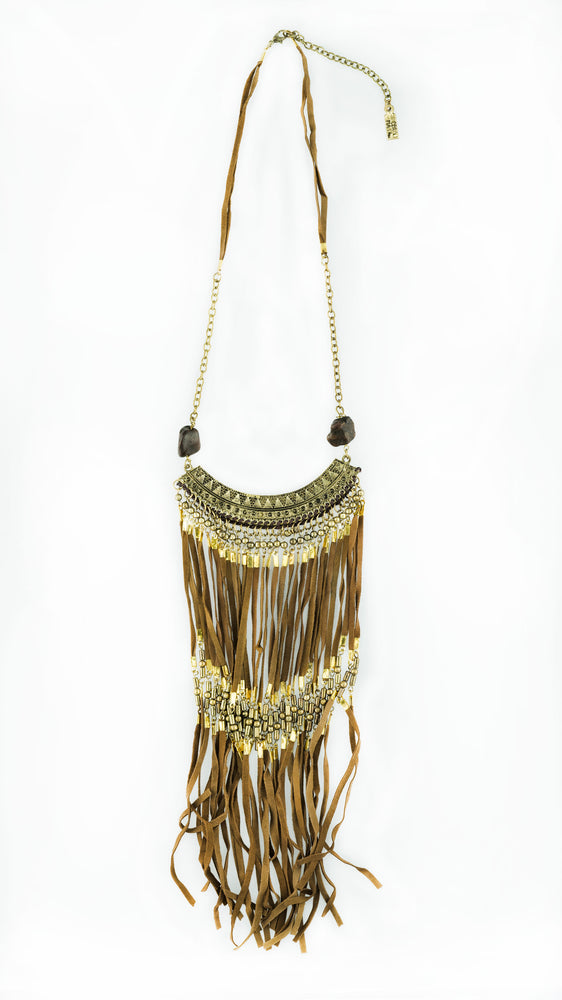 """Sahara"" Brown Leather Fringe Necklace, Accessories"