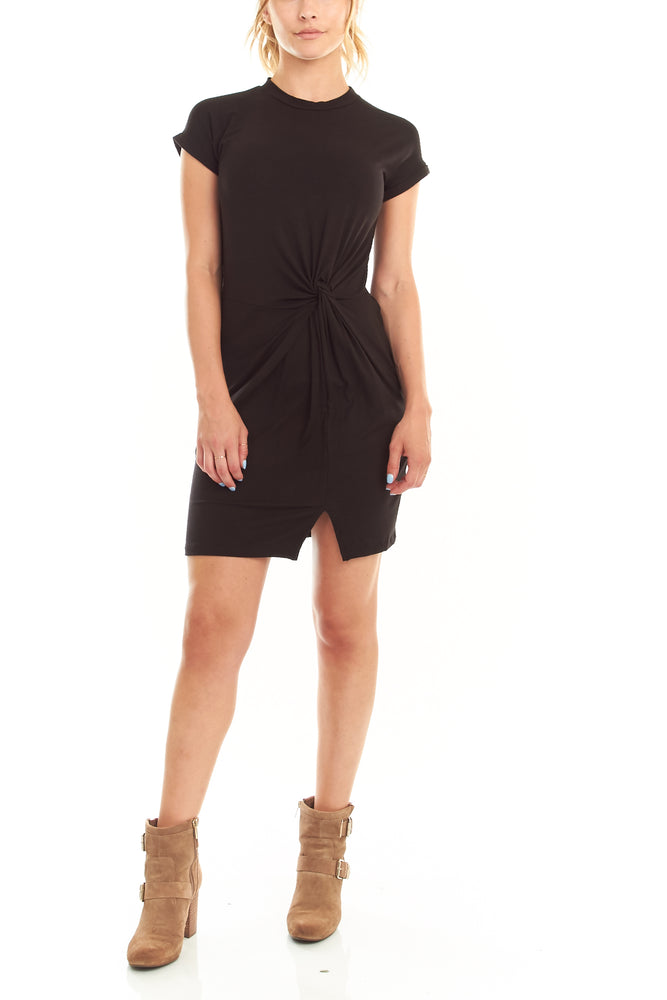Black Knotted T Shirt Dress, Dresses