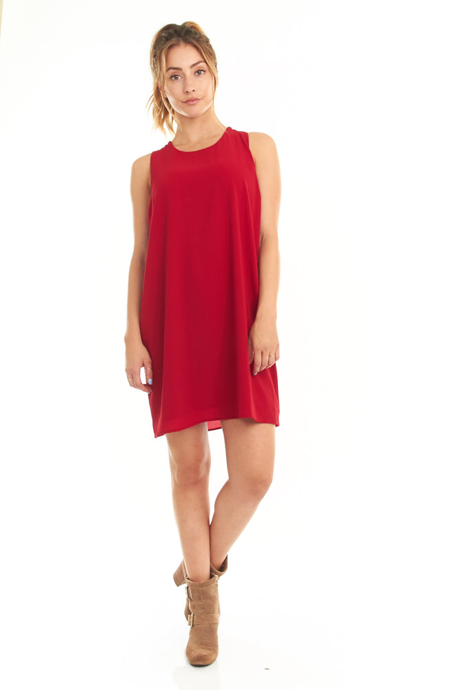 Red Sleeveless Cape Dress