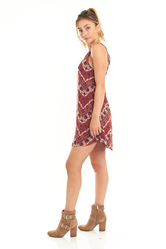 Red Geo Printed Sleeveless Dress, Dresses