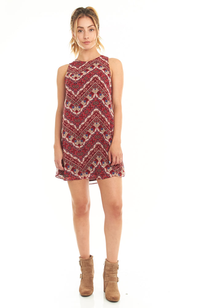 Red Geo Printed Sleeveless Dress