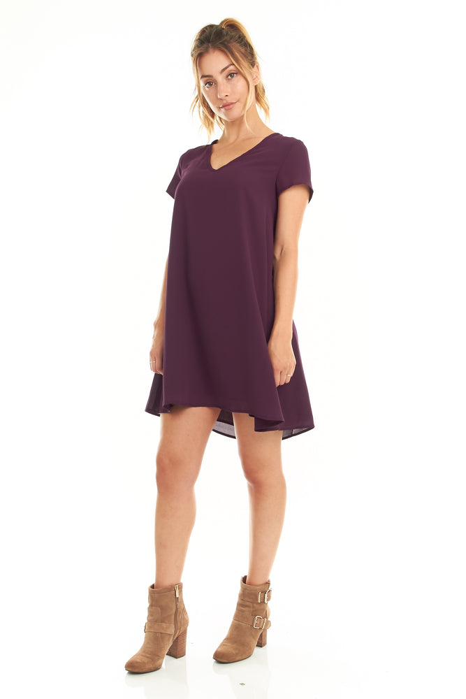 Purple Short Sleeve Swing Dress, Dresses