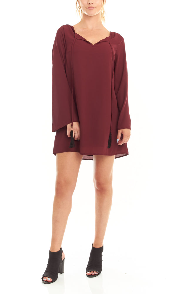 Maroon Long Sleeve Tassel Dress, Dresses