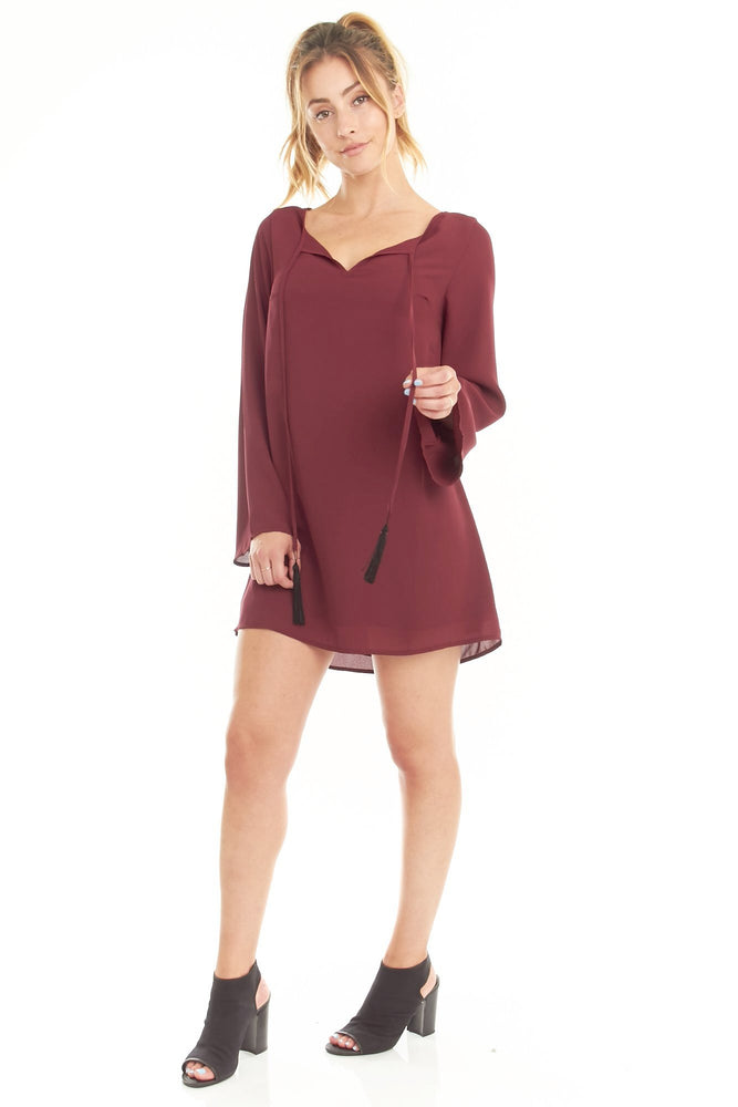 Maroon Long Sleeve Tassel Dress