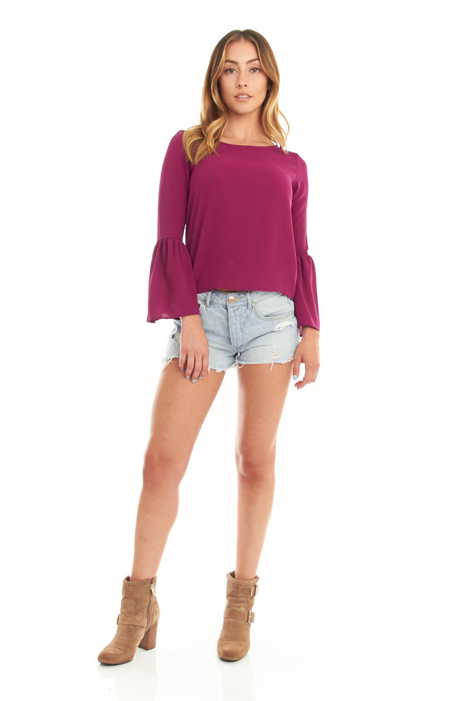 Magenta Bell Sleeve Blouse, Tops