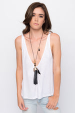 """Artemis"" Black Feather Tassel Necklace"